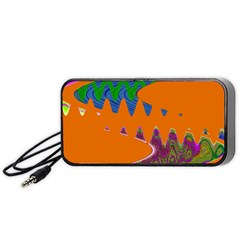 Colorful Wave Orange Abstract Portable Speaker (black)  by BrightVibesDesign
