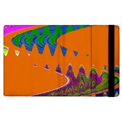 Colorful Wave Orange Abstract Apple Ipad 3/4 Flip Case by BrightVibesDesign