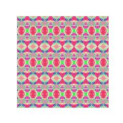 Pretty Pink Shapes Pattern Small Satin Scarf (square)  by BrightVibesDesign