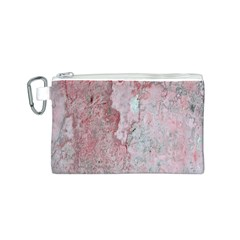 Coral Pink Abstract Background Texture Canvas Cosmetic Bag (Small) by CrypticFragmentsDesign