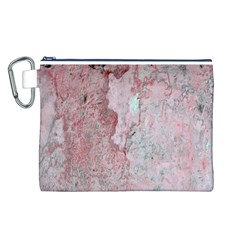 Coral Pink Abstract Background Texture Canvas Cosmetic Bag (large) by CrypticFragmentsDesign