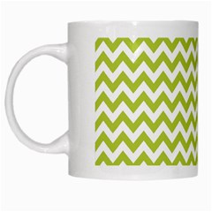 Spring Green & White Zigzag Pattern One Piece Boyleg Swimsuit White Mug