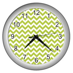 Spring Green & White Zigzag Pattern One Piece Boyleg Swimsuit Wall Clock (silver) by Zandiepants
