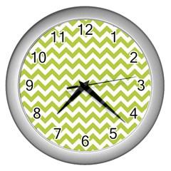 Spring Green & White Zigzag Pattern One Piece Boyleg Swimsuit Wall Clock (silver)