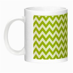 Spring Green & White Zigzag Pattern One Piece Boyleg Swimsuit Night Luminous Mug