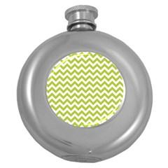 Spring Green & White Zigzag Pattern One Piece Boyleg Swimsuit Hip Flask (5 Oz)