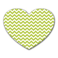 Spring Green & White Zigzag Pattern One Piece Boyleg Swimsuit Heart Mousepad