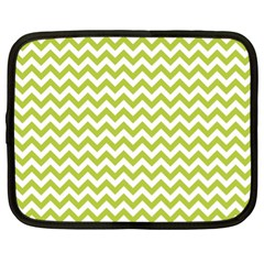 Spring Green & White Zigzag Pattern One Piece Boyleg Swimsuit Netbook Case (xl) by Zandiepants