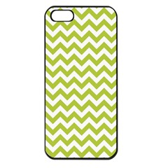 Spring Green & White Zigzag Pattern One Piece Boyleg Swimsuit Apple Iphone 5 Seamless Case (black)
