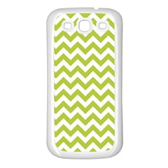 Spring Green & White Zigzag Pattern One Piece Boyleg Swimsuit Samsung Galaxy S3 Back Case (white) by Zandiepants