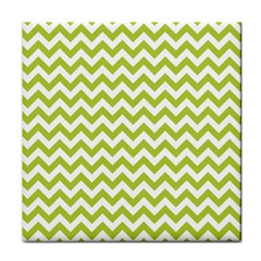 Spring Green & White Zigzag Pattern Face Towel