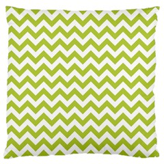 Spring Green & White Zigzag Pattern Large Cushion Case (one Side)