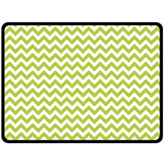 Spring Green & White Zigzag Pattern Double Sided Fleece Blanket (large)