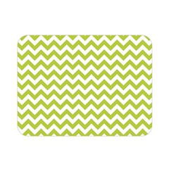 Spring Green & White Zigzag Pattern Double Sided Flano Blanket (mini) by Zandiepants