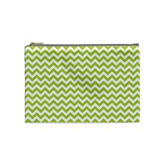 Spring Green & White Zigzag Pattern Cosmetic Bag (medium)