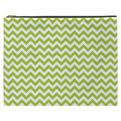 Spring Green & White Zigzag Pattern Cosmetic Bag (xxxl)