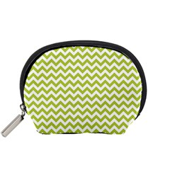 Spring Green & White Zigzag Pattern Accessory Pouch (small)