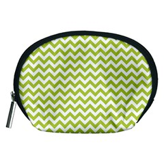 Spring Green & White Zigzag Pattern Accessory Pouch (medium)