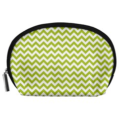 Spring Green & White Zigzag Pattern Accessory Pouch (large)