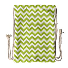 Spring Green & White Zigzag Pattern Drawstring Bag (large) by Zandiepants