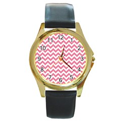 Soft Pink & White Zigzag Pattern Round Gold Metal Watch by Zandiepants