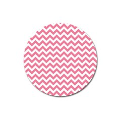 Soft Pink & White Zigzag Pattern Magnet 3  (round) by Zandiepants