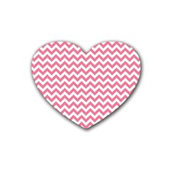 Soft Pink & White Zigzag Pattern Heart Coaster (4 Pack) by Zandiepants
