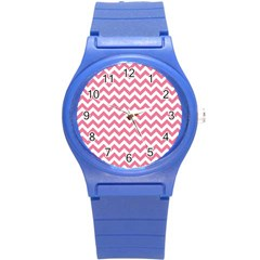 Soft Pink & White Zigzag Pattern Round Plastic Sport Watch (s) by Zandiepants