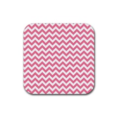 Soft Pink & White Zigzag Pattern Rubber Square Coaster (4 Pack) by Zandiepants