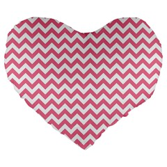 Soft Pink & White Zigzag Pattern Large 19  Premium Flano Heart Shape Cushion by Zandiepants