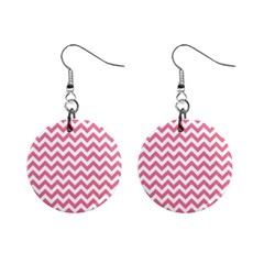 Soft Pink & White Zigzag Pattern 1  Button Earrings by Zandiepants