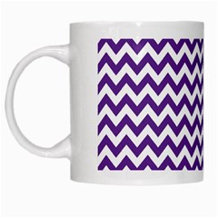 Royal Purple & White Zigzag Pattern White Mug by Zandiepants