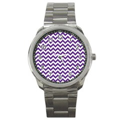 Royal Purple & White Zigzag Pattern Sport Metal Watch by Zandiepants