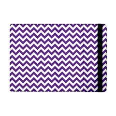 Royal Purple & White Zigzag Pattern Apple Ipad Mini Flip Case by Zandiepants