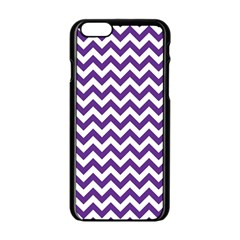 Royal Purple & White Zigzag Pattern Apple Iphone 6/6s Black Enamel Case by Zandiepants