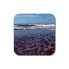 Ocean Surf Beach Waves Rubber Square Coaster (4 Pack)  by CrypticFragmentsColors