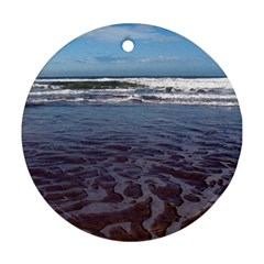 Ocean Surf Beach Waves Round Ornament (two Sides)  by CrypticFragmentsColors