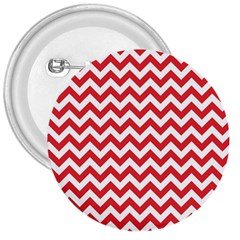 Poppy Red & White Zigzag Pattern 3  Button