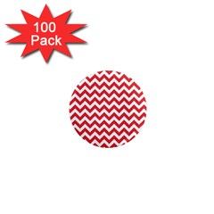 Poppy Red & White Zigzag Pattern 1  Mini Magnet (100 Pack)