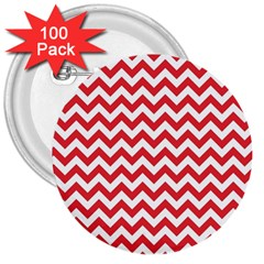 Poppy Red & White Zigzag Pattern 3  Button (100 Pack) by Zandiepants