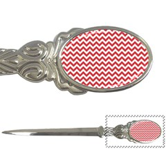 Poppy Red & White Zigzag Pattern Letter Opener
