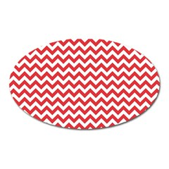 Poppy Red & White Zigzag Pattern Magnet (oval) by Zandiepants
