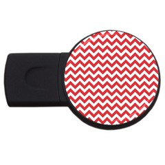 Poppy Red & White Zigzag Pattern Usb Flash Drive Round (2 Gb)
