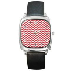 Poppy Red & White Zigzag Pattern Square Metal Watch