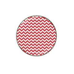 Poppy Red & White Zigzag Pattern Hat Clip Ball Marker by Zandiepants