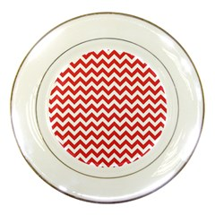 Poppy Red & White Zigzag Pattern Porcelain Plate