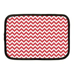 Poppy Red & White Zigzag Pattern Netbook Case (medium)