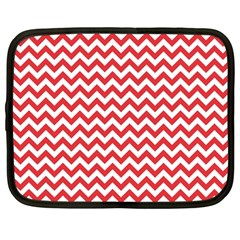 Poppy Red & White Zigzag Pattern Netbook Case (large) by Zandiepants