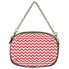 Poppy Red & White Zigzag Pattern Chain Purse (one Side)