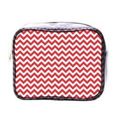 Poppy Red & White Zigzag Pattern Mini Toiletries Bag (one Side) by Zandiepants